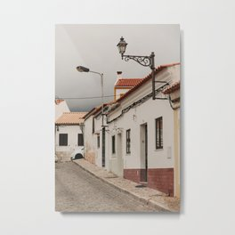 pretty village street with antique street lantern and stormy sky in Lisbon Portugal | Photo Print, Travel Photography Europe Metal Print
