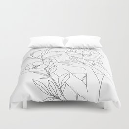 Minimal Line Art Woman with Peonies Duvet Cover