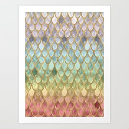 Rainbow Marble Mermaid Scales Art Print