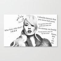 iggy azalea Canvas Prints featuring Iggy Azalea by Juliana Benincasa