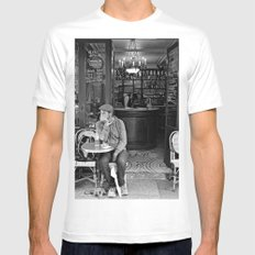 At the Cafe MEDIUM Mens Fitted Tee White