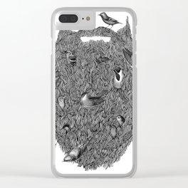 Bird Beard Clear iPhone Case