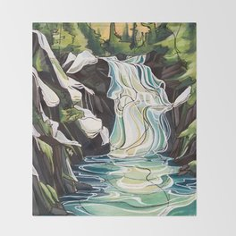 Winter Waterfalls Throw Blanket