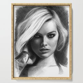 Margot Robbie Pencil Sketch Serving Tray