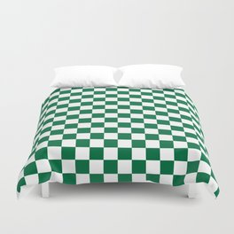 White and Cadmium Green Checkerboard Duvet Cover