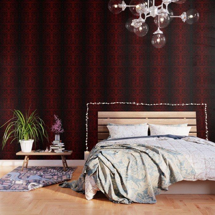 Dark Red And Black Damask Wallpaper