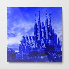 Sagrada Família (architect Antoni Gaudi) - Blue Night Hue - Oil painting - Roman Catholic minor basilica in the Eixample district of Barcelona (Catalonia - Spain) Metal Print