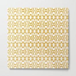 Geometric Art, Aztec Prints, Yellow and White, Boho Prints Metal Print