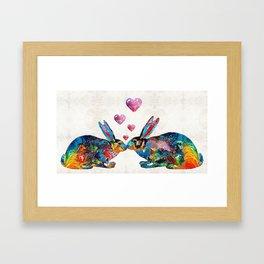 Bunny Rabbit Art - Hopped Up On Love - By Sharon Cummings Framed Art Print