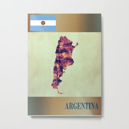 Argentina Map with Flag Metal Print
