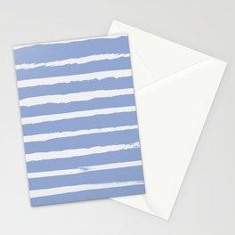Irregular Hand Painted Stripes Light Blue Stationery Cards