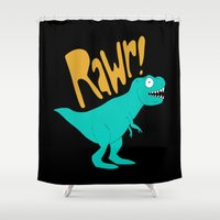 dino Shower Curtains featuring Dino by Chelsea Herrick