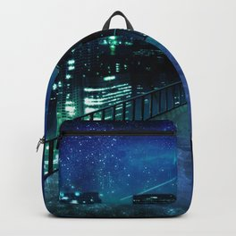 Girl In Skirt Watching Over Wonderful Starry Urban Skyline At Night Cartoon Scenery Ultra Resolution Backpack