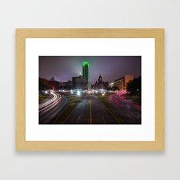 Night Skyline of Dallas Texas Framed Art Print