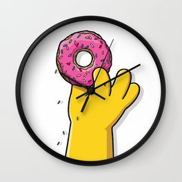 Homer's doughnut, animated tv sitcom, Matt Groening, fox, Bart, Lisa, Maggie, Marge, american family Wall Clock