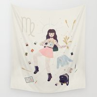 virgo Wall Tapestries featuring Virgo by LordofMasks