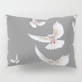 WHITE PEACE DOVES ON GREY COLOR DESIGN ART Pillow Sham
