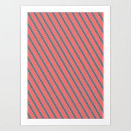Living Coral Diagonal Stripes Art Print