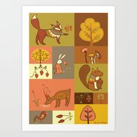 woodland Art Prints featuring Woodland by Nicola Colton illustration