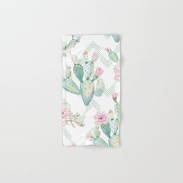 Cactus Chevron Southwestern Watercolor Hand & Bath Towel