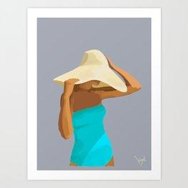 At the Beach: Aqua suit Art Print