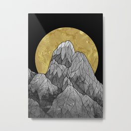The Golden moon rises over the highest peak Metal Print