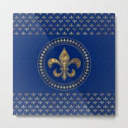 Fleur-de-lis - Gold and Royal Blue Metal Print
