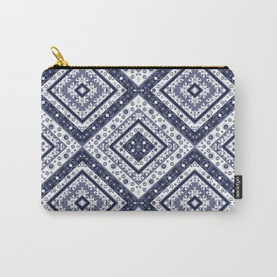 Strict , white blue ornament. Carry-All Pouch