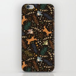 Autumn Woodsy Floral Forest Pattern With Foxes And Birds iPhone Skin