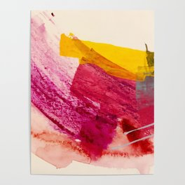 Pink Lemonade: a minimal, colorful abstract mixed media with bold strokes of pinks, and yellow Poster