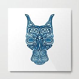 Tribal Doberman Style Errorface skull Metal Print