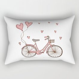 Retro vintage bicycle print with heart shaped balloons Rectangular Pillow