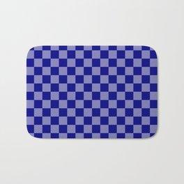 Large Navy Blue Check Pattern Bath Mat