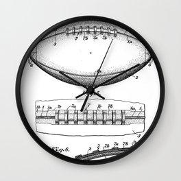 Football Patent - American Football Art - Black And White Wall Clock