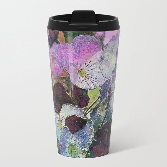 Pansies Purple Metal Travel Mug