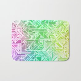 Bright Gradient (Violet Purple Lime Green Neon Yellow) Geometric Pattern Print Bath Mat