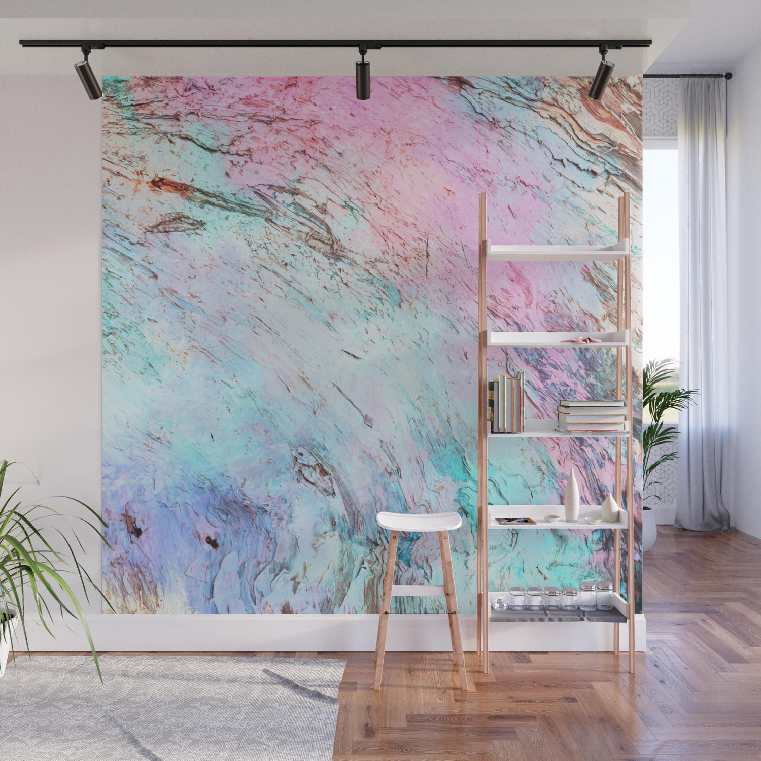 Abstract Modern Pink Teal Lavender Watercolor Marble Wall Mural