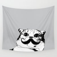 moustache Wall Tapestries featuring Moustache cat by LORNAldt