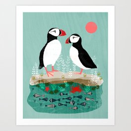 Puffins - Bird Art, Shorebird, Sea bird, birds, Cute illustration by Andrea Lauren Art Print