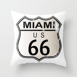 Miami Route 66 Throw Pillow