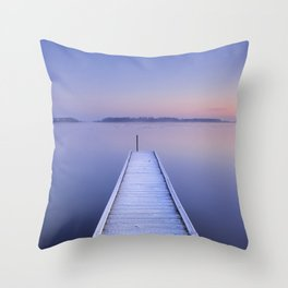 Jetty on a still lake in winter in The Netherlands Throw Pillow