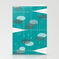 mid century modern Stationery Cards featuring Mid-Century Modern Ovals Teal by Kippygirl