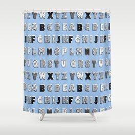 ABC Blue Shower Curtain