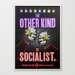 """Vintage """"The Other Kind of Socialist"""" Alcoholic Lithograph Advertisement in multi-colors Canvas Print"""
