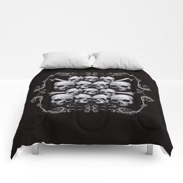 Skulls and Filigree - Black and White Comforters