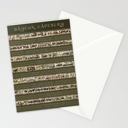 Bayeux Tapestry on Army Green - Full scenes & description Stationery Cards