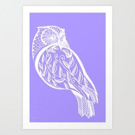 Mauve Owl sketch in purple and white Art Print