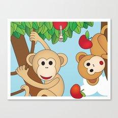 Cute Monkeys Part A Canvas Print