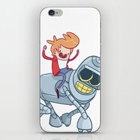 bender iPhone & iPod Skins featuring Adventurama/Fry and Bender by Spencer Duffy