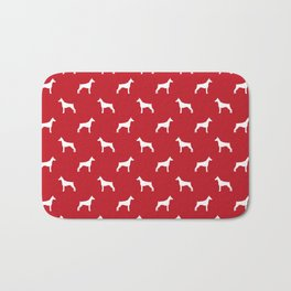 Doberman Pinscher dog pattern red and white minimal dog breed silhouette dog lover gifts Bath Mat